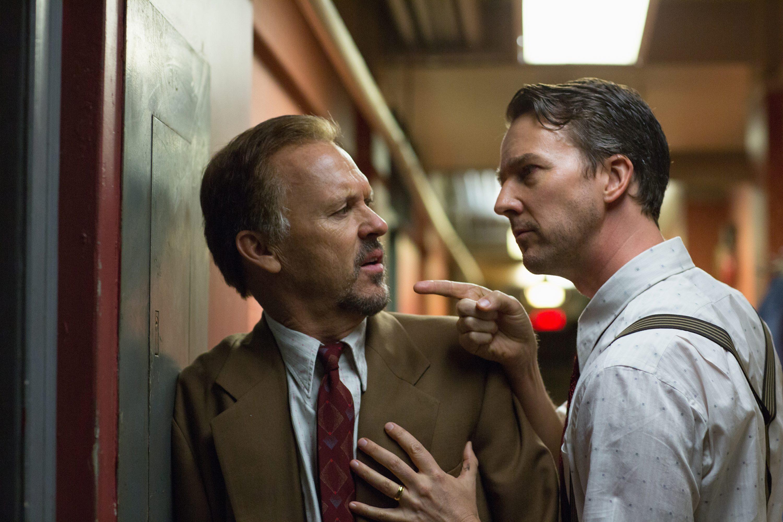 Michael Keaton y Edward Norton en Birdman